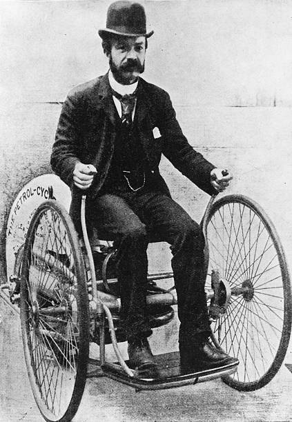 The first motor cycle invented by Edward Butler in...