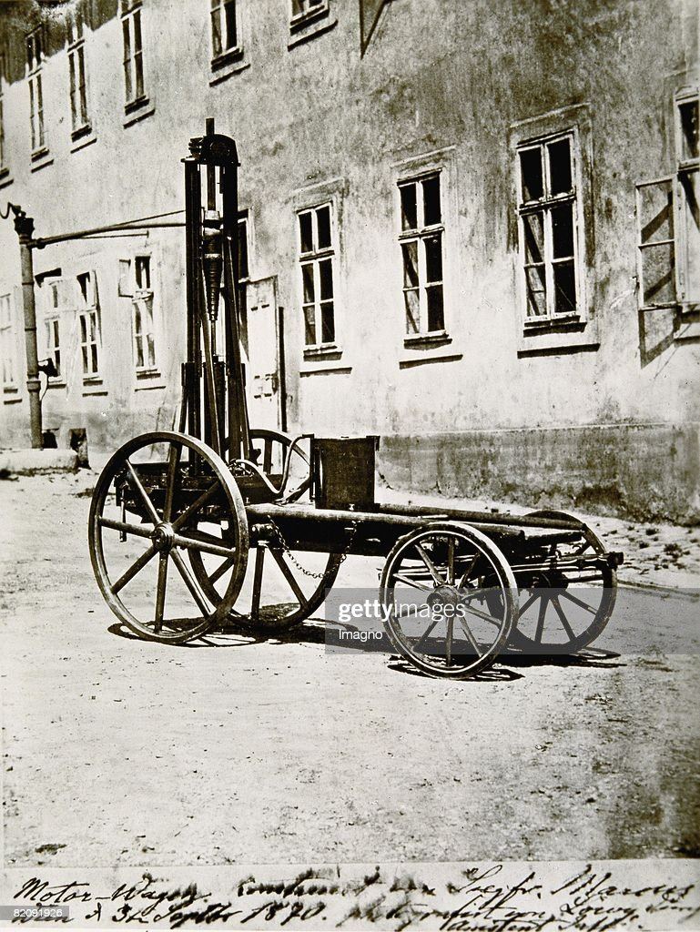 The first motor vehicle built by the inventor Siegfried Marcus ...