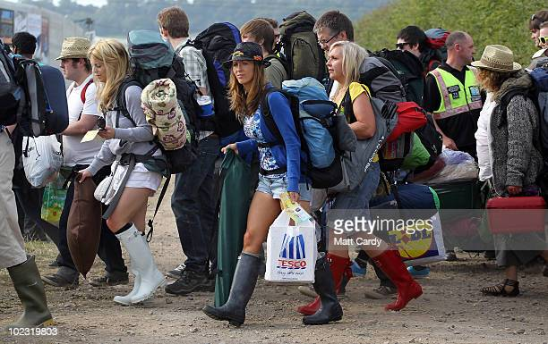 The first of the 140,000 music fans due at this year's Glastonbury Festival begin to arrive at Worthy Farm, Pilton on June 23, 2010 in Glastonbury,...