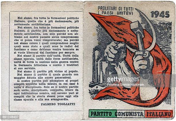 The first official card of the Italian Communist Party issued in 1945 designed by Renato Guttuso under the words Italy Rome 1945