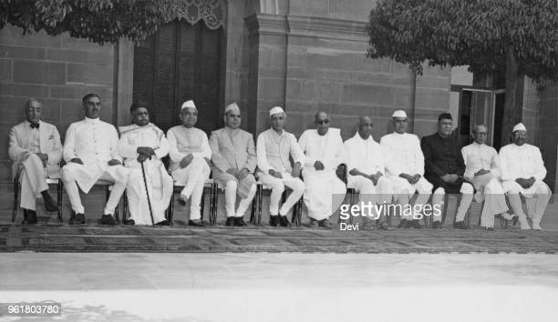 The first official meeting of the governors of India's nine provinces at Government House in New Delhi India 8th May 1949 From left to right Sir...