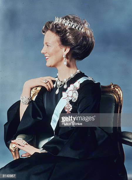 The first official photograph of Queen Margrethe II of Denmark daughter of King Frederik IX after her accession to the throne