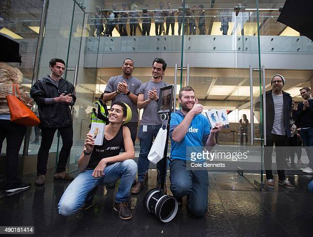 The first out of the Apple Store after cold wet long wait for the release of the iPhone 6s and 6s Plus at Apple Store on September 25 2015 in Sydney...