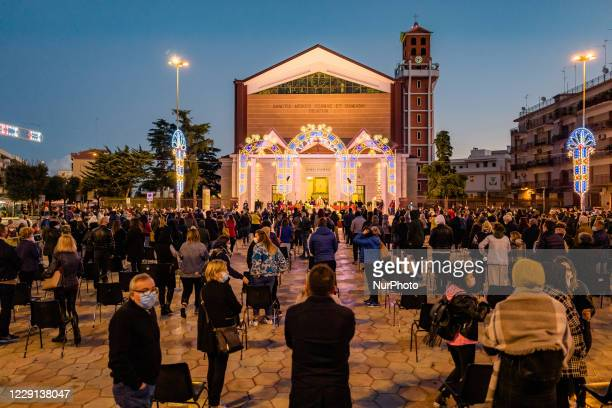 The first outdoor mass in the square in front of the Basilica Santuario of the Santi Medici in Bitonto on October 18 2020 For the health emergency...