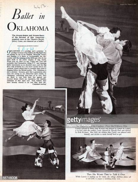 The first page of a feature in Picture Post magazine covering a production of 'Oklahoma' at the Theatre Royal Drury Lane 9th August 1947 The pictuers...