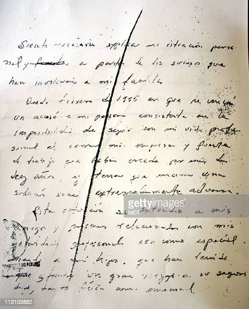The first page of a two-sheet letter in the handwriting of deceased brother of former Mexican President Carlos Salinas de Gortari, Enrique, found in...
