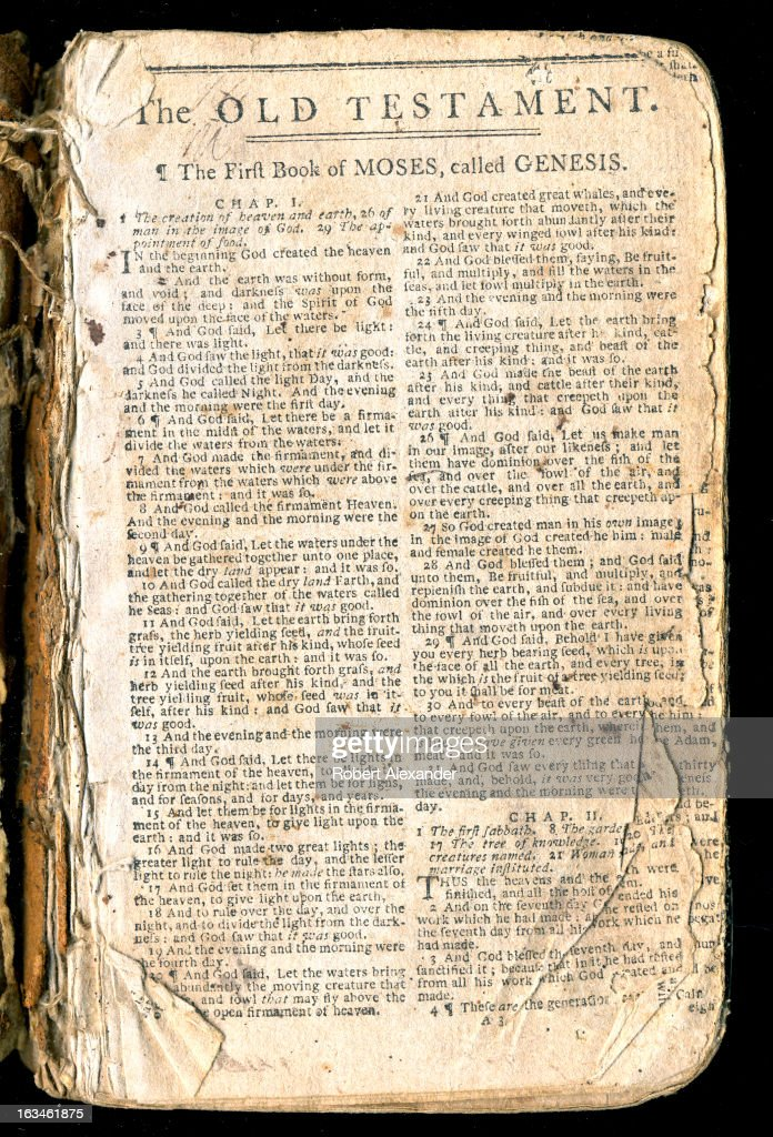 The first page of a well worn 18th Century family bible, opened to 'The First Book of Moses, called Genesis.' The Book of Genesis is the first book of the Christian Old Testament. (Photo by Robert Alexander/Archive Photos/Getty Images) 5104602RA_Alexander81.jpg