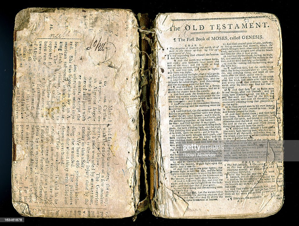 The first page of a well worn 18th Century family bible, opened to 'The First Book of Moses, called Genesis.' The Book of Genesis is the first book of the Christian Old Testament. (Photo by Robert Alexander/Archive Photos/Getty Images) 5104602RA_Alexander82.jpg
