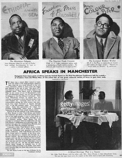 The first page of an article by Hilde Marchant in Picture Post covering the PanAfrican Congress held in Manchester 10th November 1945 The 'Abyssinian...