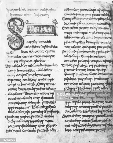 The first page of the fifth book of Bede's 'Historia Ecclesiastica Gentis Anglorum' or 'Ecclesiastical History of the English People' in Latin An 8th...