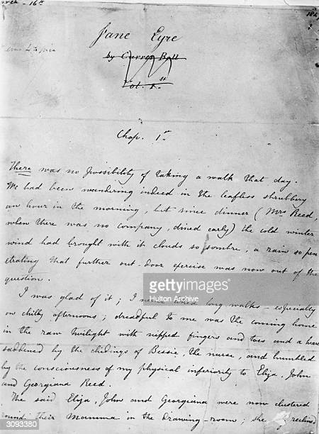 The first page of the manuscript of Jane Eyre by Charlotte Bronte who wrote the novel under the pseudonym of Currier Bell