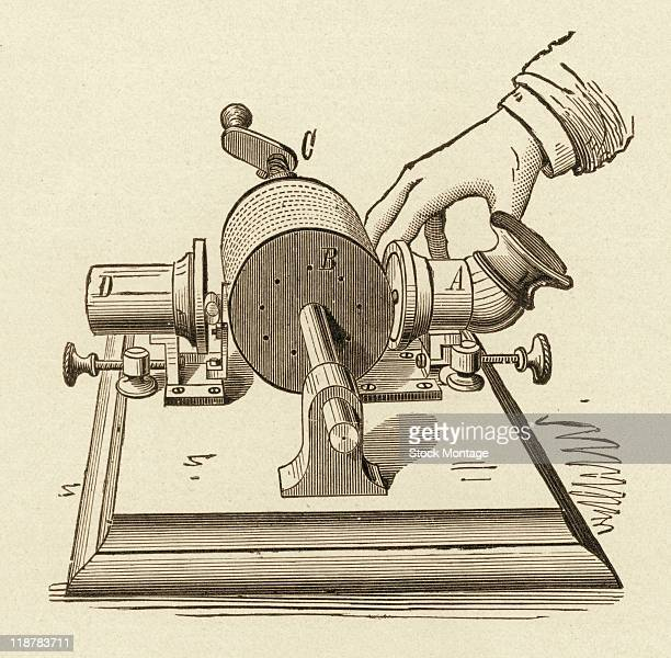 The first phonograph made by Thomas Edison is shown in an illustration that appeared in a book published circa 1900 The phonograph made a record of...