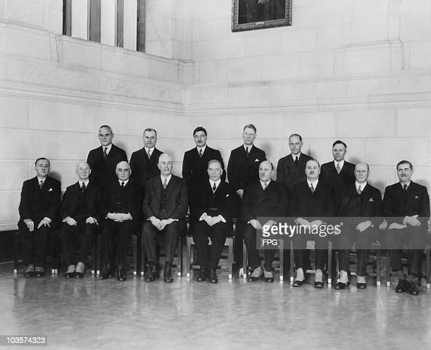 The first photograph taken of the Cabinet of the Rt. Hon. W. L. Mackenzie King, the Liberal Prime Minister of Canada, 14 February 1936. Seated : Hon....