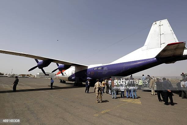 The first plane belonging to the International Committee of the Red Cross carrying humanitarian aid arrives at Sana'a International Airport in Sana'a...