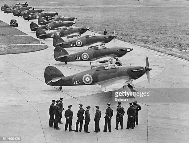 The first production Hawker Hurricane MkI monoplane fighters with the twoblade fixed pitch wooden propeller are lined up following delivery to No111...