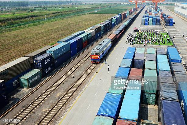 The first QingdaoCentral Asia freight train is about to leave the railway station on July 01 2015 in Qingdao in east China's Shandong province...