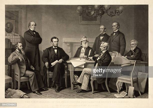 The First Reading of the Emancipation Proclamation Before the Cabinet mezzotint by Alexander Hay Ritchie after a painting by Francis Bicknell...