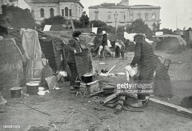 The first refugee camps for earthquake victems shortly after the Messina earthquake 28 December 1908 Italy 20th century
