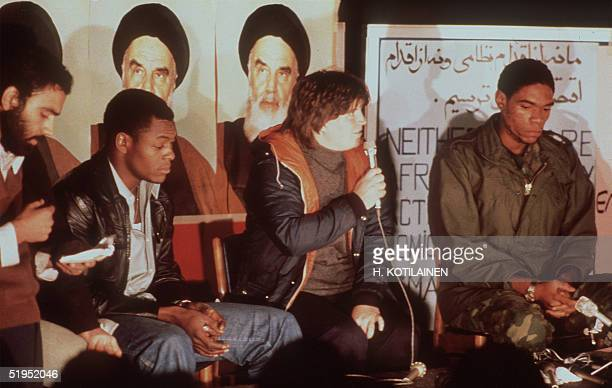 the first released group of US Embassy staffers in Tehran hold a press conference 18 November 1979 the day after Ayatollah Khomeini ordered the...