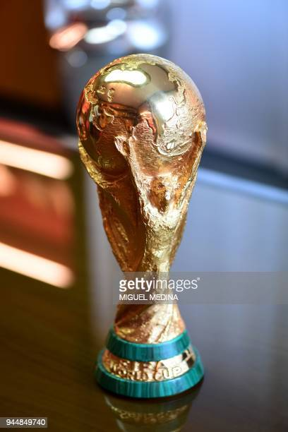 The first replica of the FIFA football World Cup Trophy is pictured at the Italian trophy and medal manufacturer GDE Bertoni is pictured on April 11...