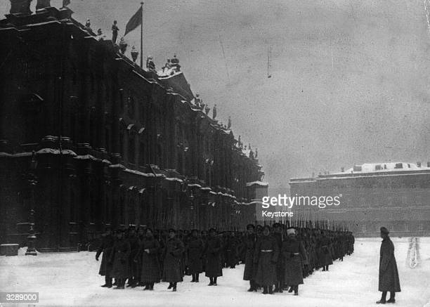 The first revolutionary soldiers parade in a square in Petrograd during the Russian Revolution