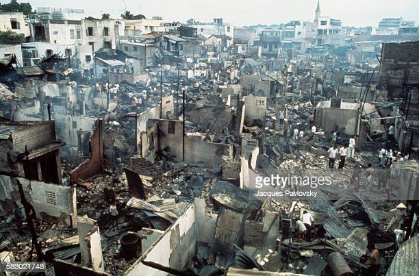 The first rocket attack hit Saigon at 430 striking the town center and setting fire to 150 wooden houses Fourteen died and over forty people were...