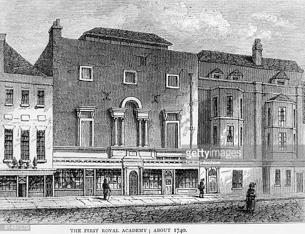 The first Royal Academy in St Martin's Lane, London, circa 1740.