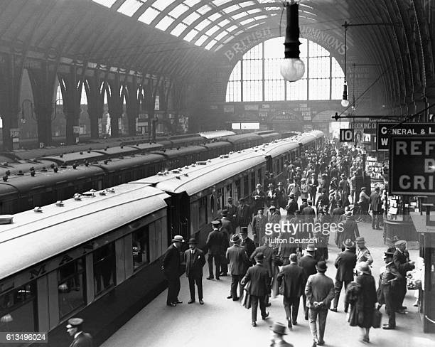 The first run of a London and North Eastern train of Pullman cars to the Yorkshire spa town of Harrowgate from King's Cross Station