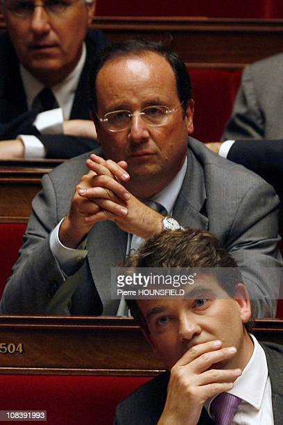 The first Secretary of French Socialist Party Francois Hollande and Arnaud Montebourg in Paris France on May 20th 2008