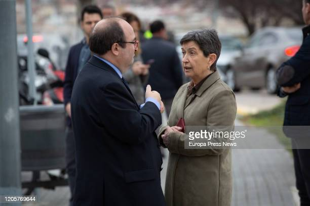 The first secretary of PSC Miquel Iceta and the Government delegate in Cataluña Teresa Cunillera speak after the funeral of Diana Garrigosa wife of...