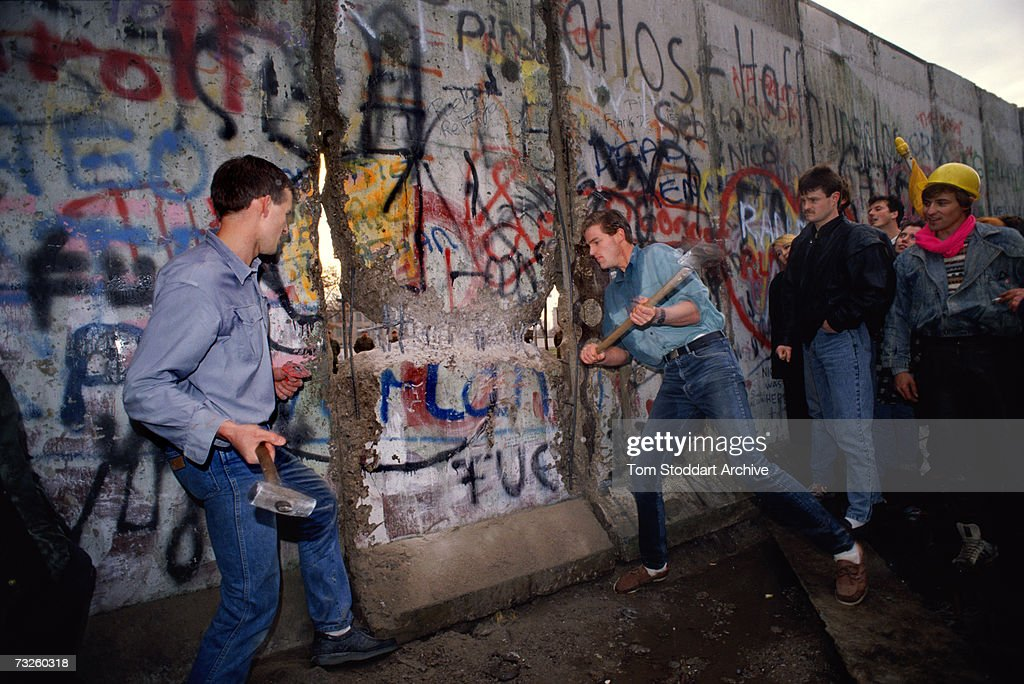 Berlin Wall Being Torn Down