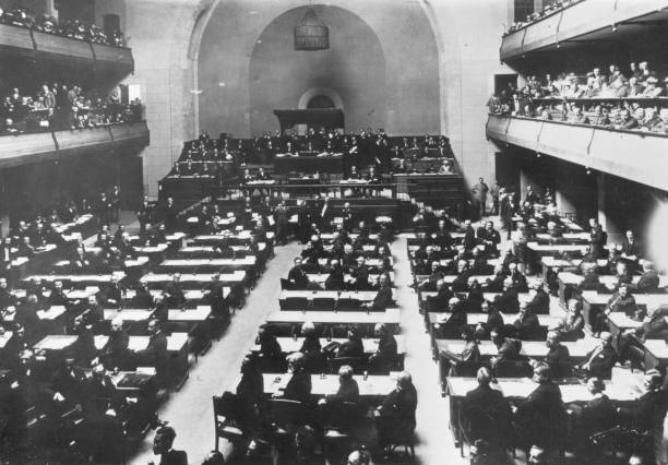 The first session of the League of Nations in the Salle...