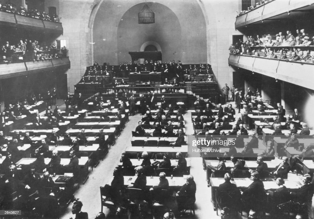 The first session of the League of Nations in the Salle de Reforme in Geneva, set up after the First World War to maintain peace.