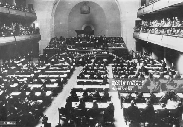 The first session of the League of Nations in the Salle de Reforme in Geneva set up after the First World War to maintain peace