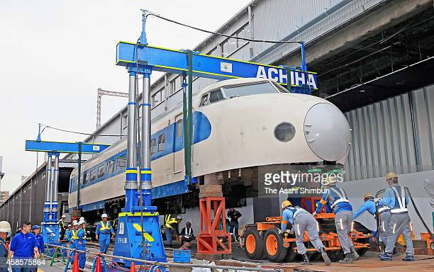 The first Shinkansen bullet train '0 series' head carriage which is prepared for being transported by road from the former Modern Transportation...