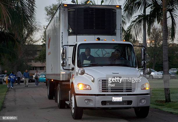 The first shipment of H1N1 vaccine arrives in a refrigerated truck at the Balboa Park Community Center during the launch of the first Public Health...