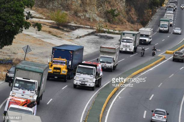 The first Shipment of Red Cross humanitarian aid to Venezuela is transported from the International Maiquetia Airport towards Caracas in Venezuela on...