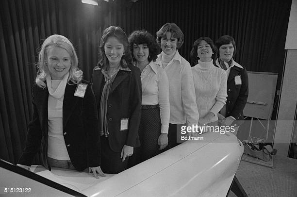 The first six women chosen as astronauts get together here as they are welcomed by officials at the Johnson Space Center on January 31st From left...