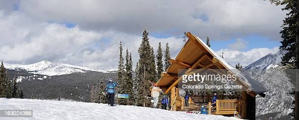 The first skiiers arrive for church services at the Copper Mountain Community Church on Copper Mountain Colorado on Sunday January 27 2013