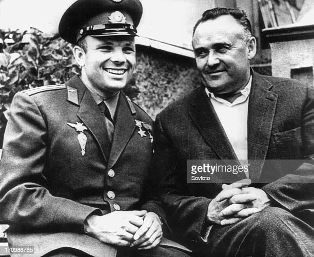 The first soviet cosmonaut yuri gagarin with sergei korolyov soviet scientist and designer in the sphere of rocket building and cosmonautics...