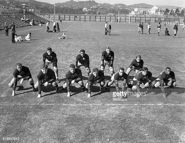 The first string football team of the University of California at Lost Angeles during their recent first workout of the season The line Frank Kroener...