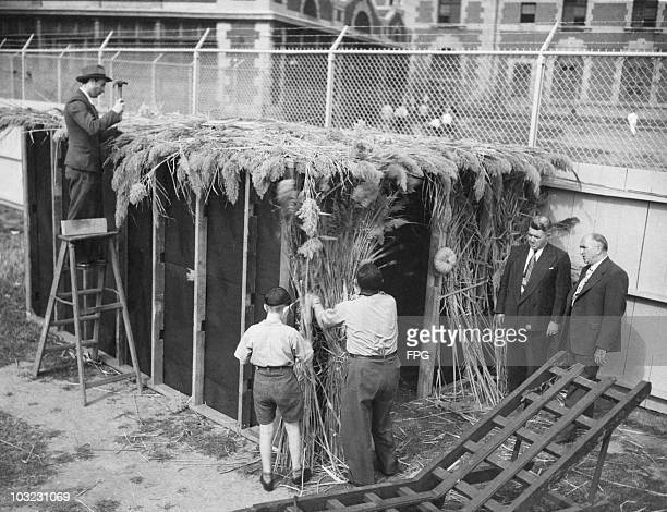 The first Sukkah built on Ellis Island, New York City, is constructed by the Hebrew Immigrant Aid Society, circa 1948. The hut is a temporary...