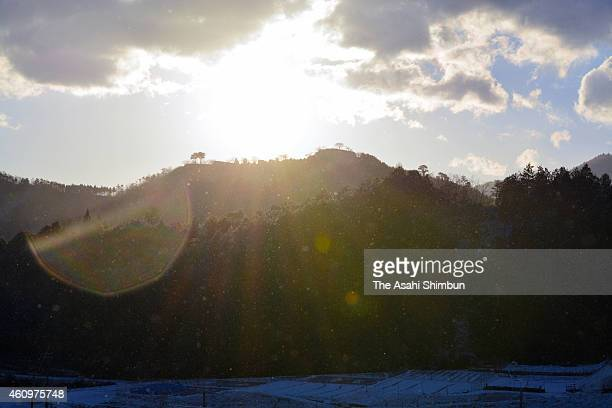 The first sunrise of the year is seen at the ruins of Takeda Castle on January 1 2015 in Asago Hyogo Japan