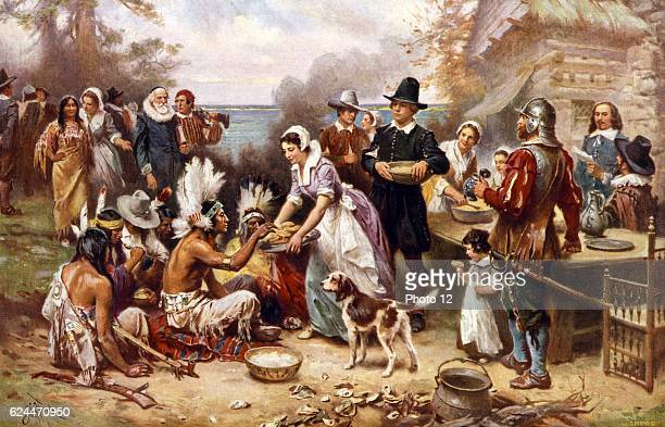 The first Thanksgiving 1621 by Jean Leon Gerome Ferris 18631930 artist Published by the Foundation Press Inc c1932 Photomechanical print halftone...