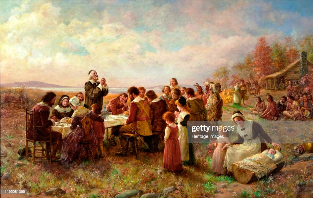 The First Thanksgiving At Plymouth : News Photo