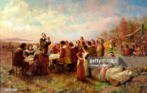 The First Thanksgiving at Plymouth, 1914. Private Collection. Artist Brownscombe, Jennie Augusta .