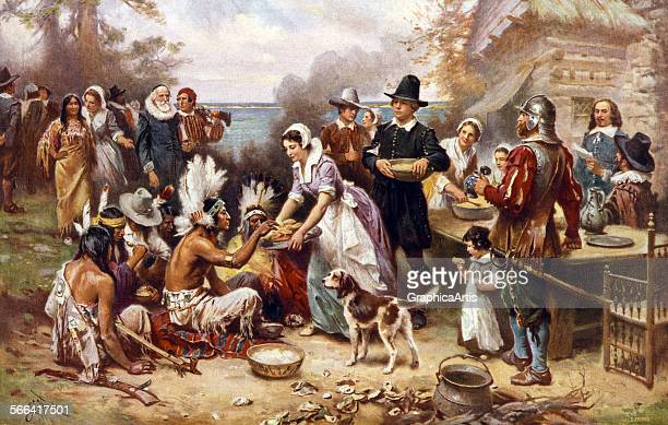The First Thanksgiving in 1621 after a painting by Jean Leon Gerome screen print 1932