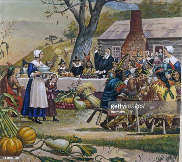 The First Thanksgiving The Indians joining in the feast of New England pilgrims