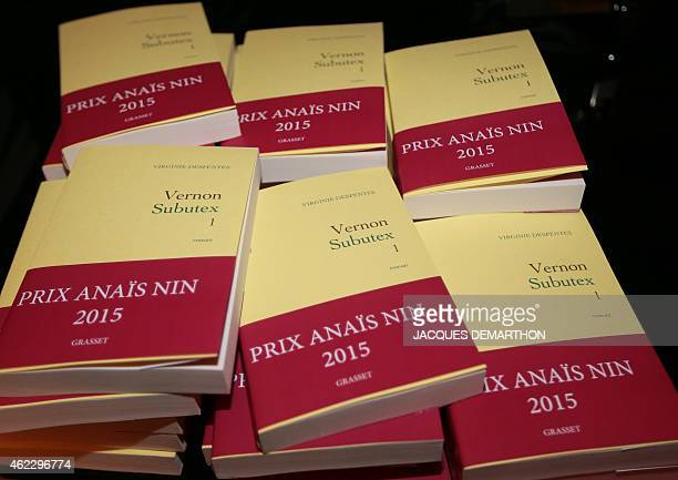 The first time ever winner of the new Anais Nin Prize a book by author Virginie Despentes entitled 'Vernon Subutex' is displayed in Paris on January...