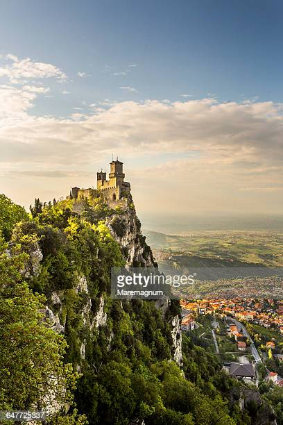 the first torre (tower) called rocca or guaita - republic of san marino stock pictures, royalty-free photos & images